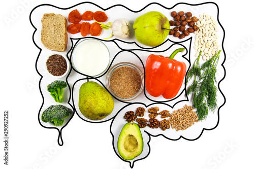 Carta da parati  Food for bowel Health. Isolate on a white background