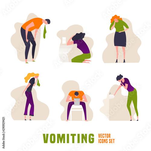 Vomiting Icons set Fototapeta