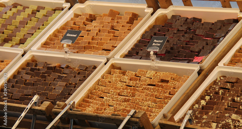 Fototapety, obrazy: A Display of Various Types of Sweet Fudge for Sale.