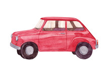 Watercolor Hand Painted  Illustration With Vintage Red Car Isolated On White Background.