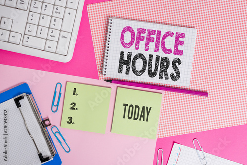 Text sign showing Office Hours Fototapete