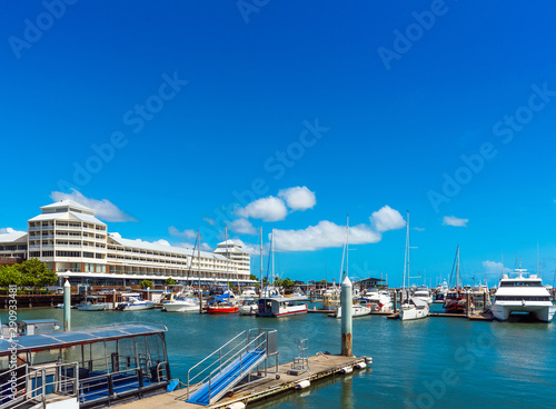 Photo Port in Cairns, Australia. Copy space for text.