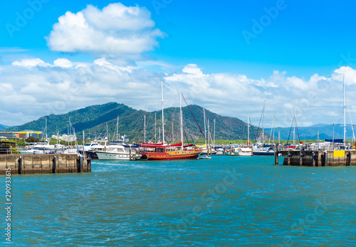 Valokuvatapetti Port in Cairns, Australia. Copy space for text.