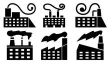Set Of Vector Factories. Black...