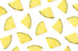 canvas print picture - Pattern of pineapple slices isolated on white background
