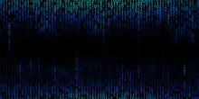 Blue Cyber Background Of Binary Code Digits.