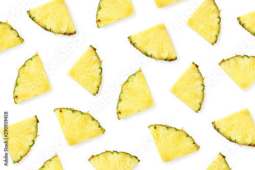 Wall Murals Equestrian Pattern of pineapple slices isolated on white background