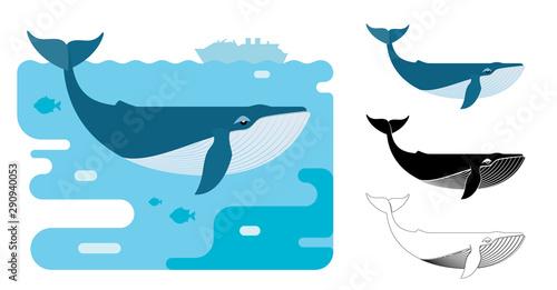 Fotografie, Obraz Blue whale icons