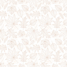 Beautiful Falling Leaves Seamless Pattern, Hand Drawn Detailed Leaves, Autumn Design, Great For Textiles Prints, Banners, Wallpapers, Wrapping - Vector Surface Design