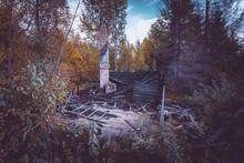 Old Burnt Wooden House. Kajaani, Finland.