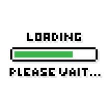 Pixel Art 8-bit Loading Green Bar Please Wait Text - Isolated Vector Illustration