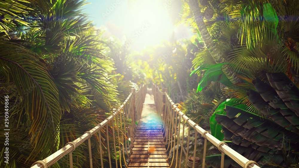 Wooden bridge over the green jungle. Green jungle trees and palm trees with blue sky and bright sun. 3D Rendering
