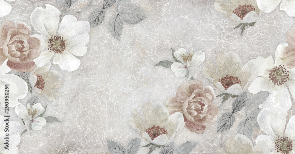 Fototapety, obrazy: vintage background with flowers
