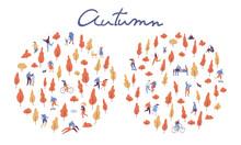 Autumn Landscape. Various Peop...