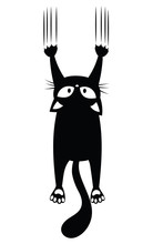 Black Cat Scratching The Wall. Silhouette Of Cartoon Cat Climbing The Wall. Vector Illustration Of A Pet For Kids. Tattoo.
