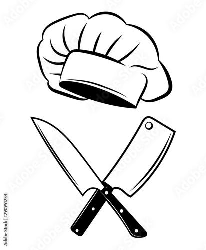 godlo-dla-restauracji-czarno-bialy-ilustracja-wektorowa-dla-mistrza-warsztatu-logo-dla-kucharza