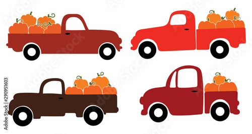 Set of american pickups with pumpkins. Farmers car collection. Vector illustration for autumn fairs.