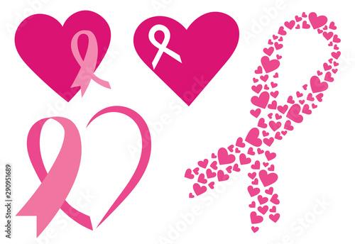 Fotografía Set of pink ribbons with hearts