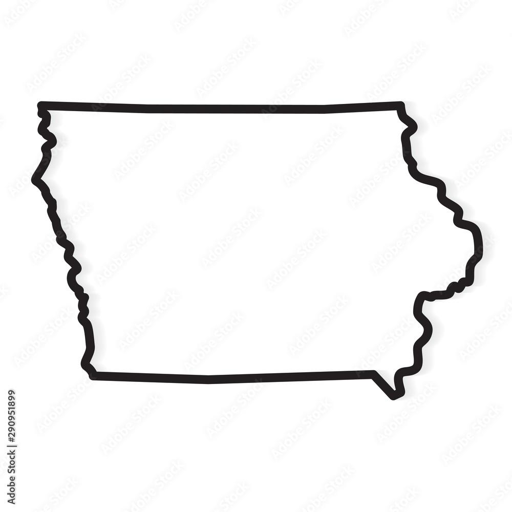Fototapeta black outline of Iowa map- vector illustration