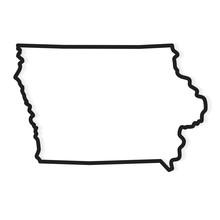 Black Outline Of Iowa Map- Vec...