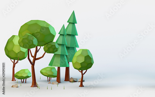 Photo sur Toile Blanc Conceptual polygonal summer trees in a low poly style. Template for banner, poster, flyer, cover, brochure, magazine page, etc.. 3D illustration