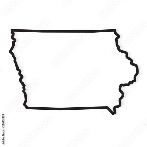 Obraz black outline of Iowa map- vector illustration - fototapety do salonu