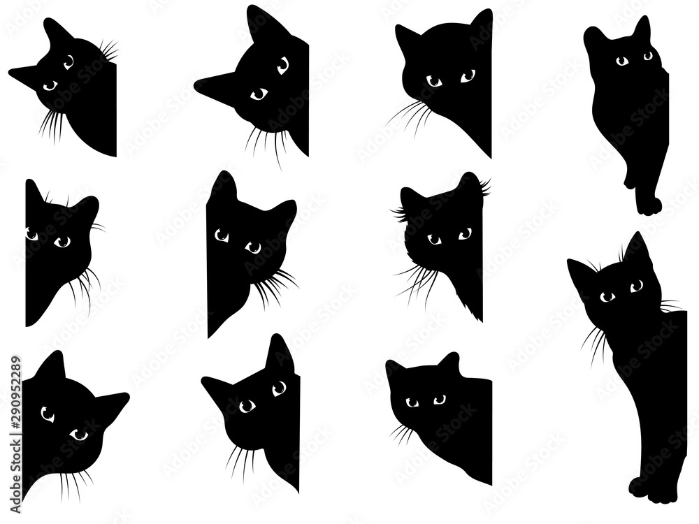 Fototapeta Set of black cats looking out of the corner. Collection of cat faces that spy on you. Playing pets. Tattoo.