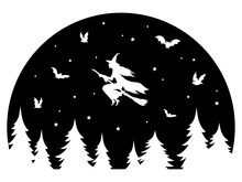 Witch Flying On A Broomstick At Night. Black And White Illustration Of A Witch For Halloween Celebration. Vector Drawing Of The Night With The Moon And Mystical Creatures For Children.