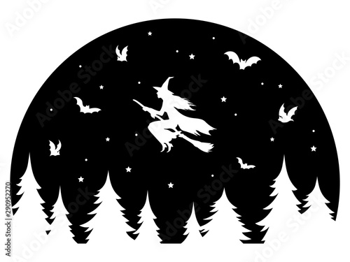Fotomural  Witch flying on a broomstick at night