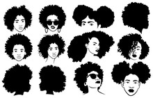 Set Of Female Afro Hairstyles....