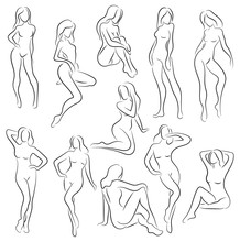 Set Of Female Figures. Collection Of Outlines Of Young Girls. Stylized Slender Body. Linear Art. Black And White Vector Illustration. Contour Of A Slender Figure.