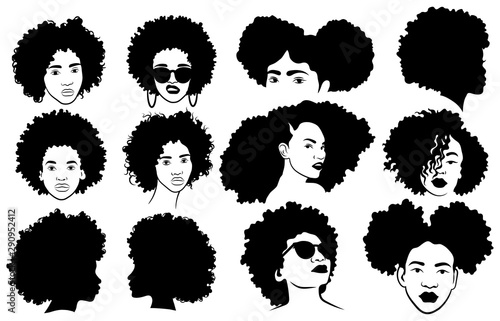 Set of female afro hairstyles Canvas Print