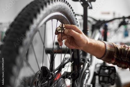 Carta da parati  Cropped shot of serviceman working in bicycle repair shop, mechanic repairing bi