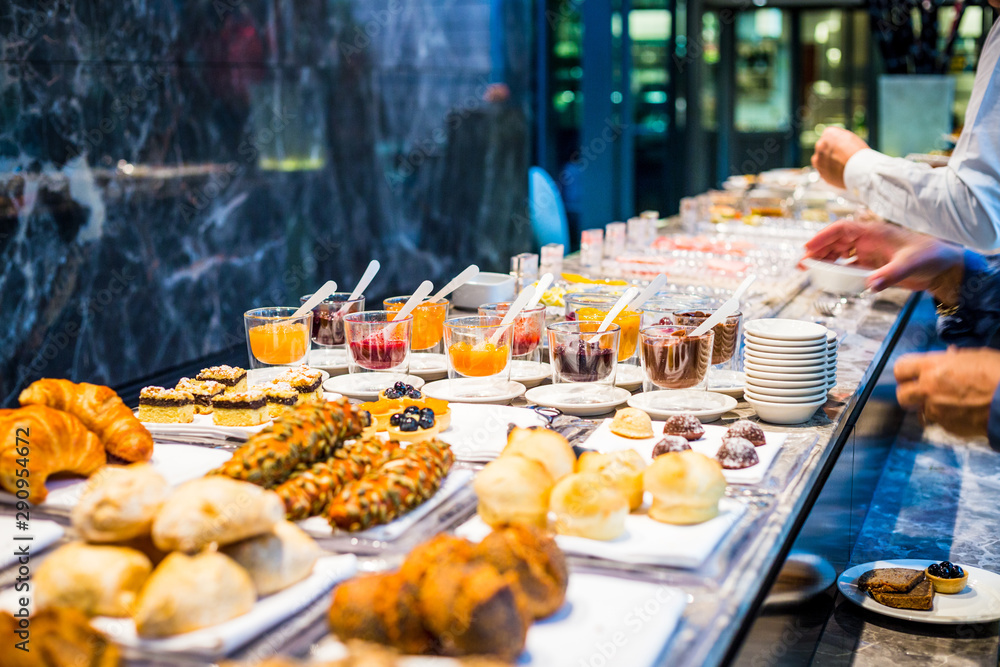 Fototapety, obrazy: Breakfast Buffet Concept, Breakfast Time in Luxury Hotel, Brunch with Family in Restaurant