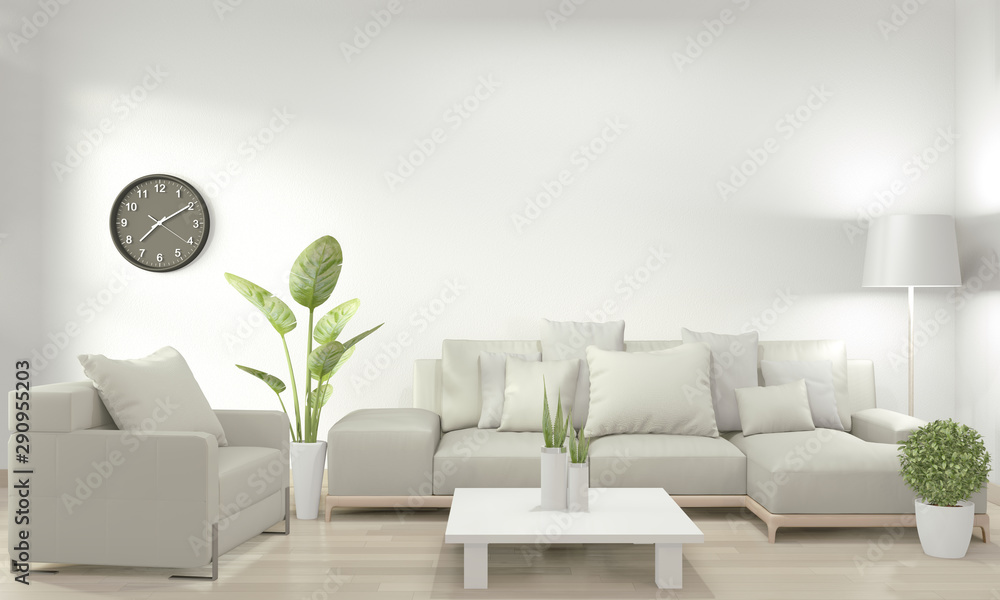 Fototapety, obrazy: White living room with white sofa and decoration plants on floor wooden.3D rendering