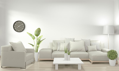 White living room with white sofa and decoration plants on floor wooden.3D rendering