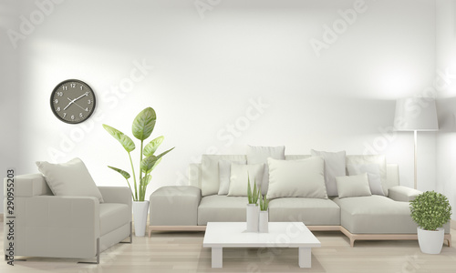 White living room with white sofa and decoration plants on floor wooden Fototapete