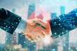 Double exposure of lock icon hologram on city view background with two people handshake. Concept of safe business