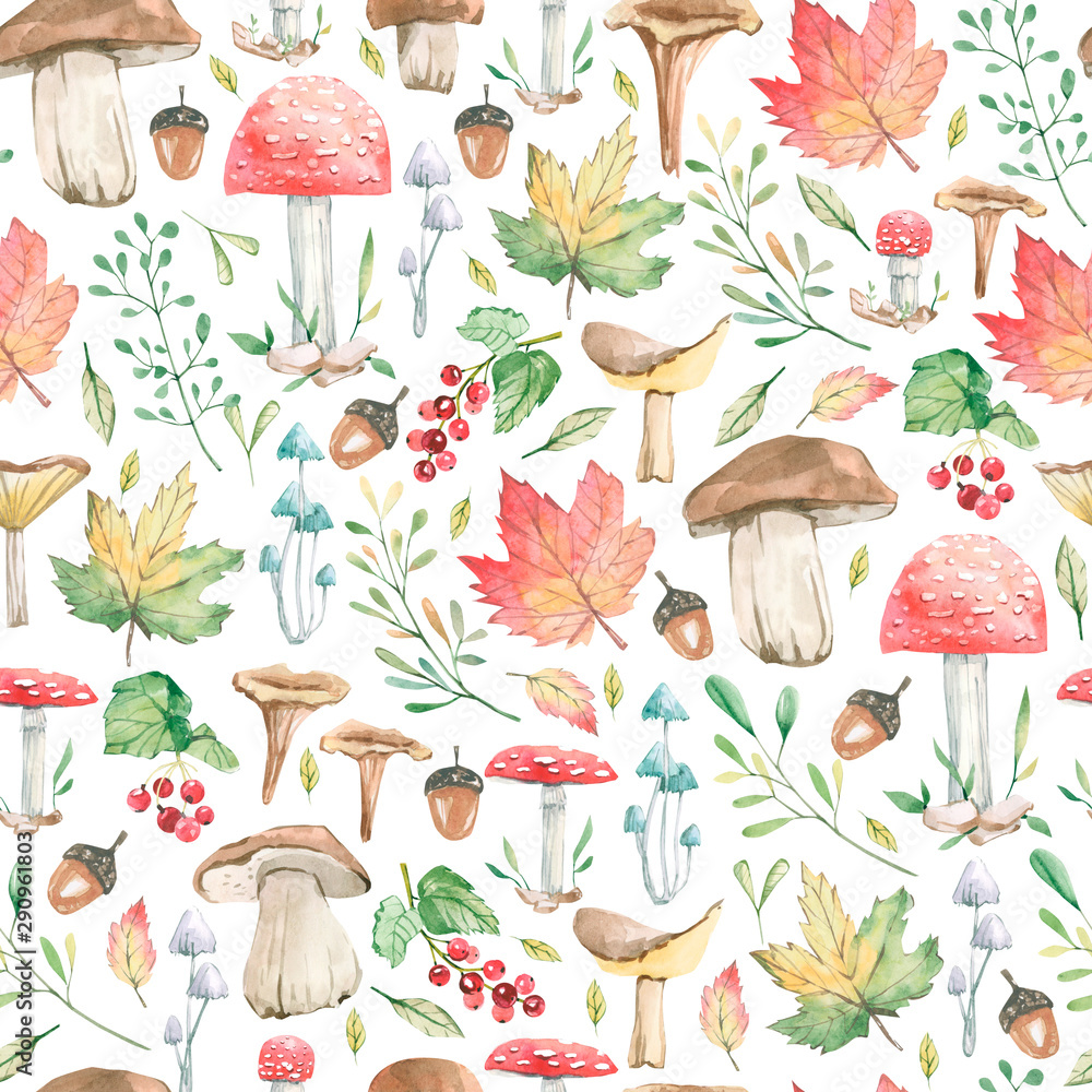 Fototapety, obrazy: Watercolor cute seamless pattern forest fall leaves, mushrooms, berries for holiday, greeting cards, posters, books, envelopes, photo album, banner, template.