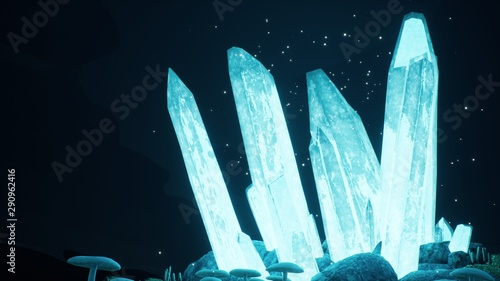 Blue mystical cave with the magic of sparkling crystals. 3D Rendering