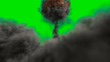 Leinwandbild Motiv The explosion of a nuclear bomb. Realistic Atomic bomb explosion with fire, smoke and mushroom cloud in front of a green screen. 3D Rendering