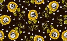 Sunflowers Skulls Seamless Pattern