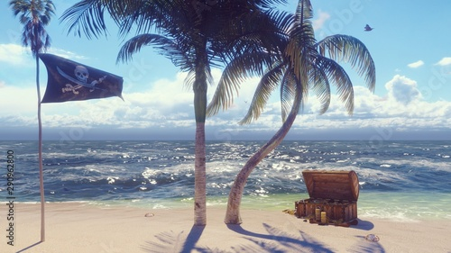 Sand, sea, sky, clouds, palm trees and summer day Fototapeta