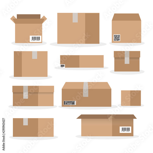 Fotografía Cardboard box mockup set
