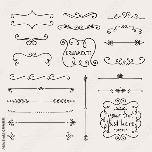 Calligraphic borders, patterns, and ornamental corners Canvas Print