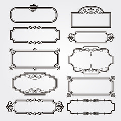 vintage swirl black and white elegant frames set isolated cartoon flat vector illustrations on white background. Ancient frameworks for photo.