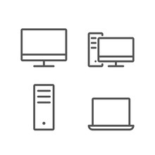 Simple Set Of Computer Outline...