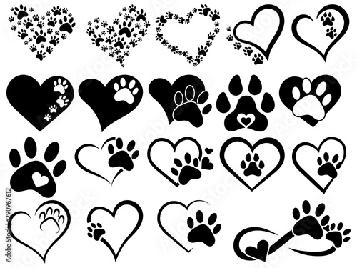 Leinwand Poster Set of hearts with the paws of dogs and cats