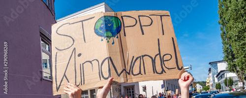 Foto auf Leinwand Lineale Wachstum Panorama Stoppt Klimawandel Banner