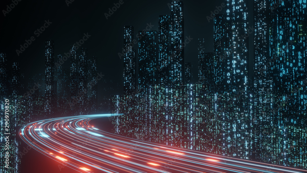 Fototapety, obrazy: 3D Rendering of abstract highway path through digital binary towers in city. Concept of big data, machine learning, artificial intelligence, hyper loop, virtual reality, high speed network.